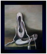 Contemporary Framed, Ballerina Shoes, Hand Painted Oil Painting 20x24in