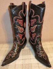 "Women's 10 Medium Black Leather & Pink Bling Bling Cowboy Boots ""Laredo"""