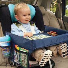 Child Snack Play Tray for Car Seat Plane and Buggy Toddler Portable Travel Blue