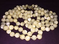 "Royal White Amber Vintage Necklace 88 Grams 120 Polish Beads 24"".-A20"