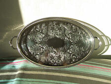 STUNNING CAVALIER SILVER PLATED GALLERY TRAY WITH HANDLES LARGE 48.5 L X 31.5