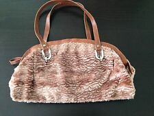 United Colors of Benetton Purse Handbag Tote Faux Fur Brown Silver