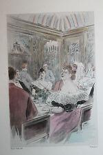 Eau-forte aquarelle pochoir La Femme à Paris Pierre Vidal Fred. Massé Uzanne 1