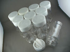 SPICE BOTTLES JARS 8 oz ROUND CLEAR PLASTIC LOT OF 10 SHAKER SPOON WHITE CAP 8oz