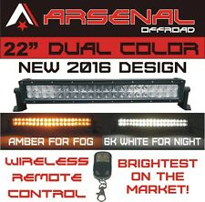 "22"" Dual Color Amber/White Stroboflash Led Remote Light Bar Offroad 4x4 Truck"