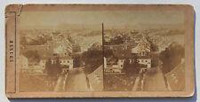 Suisse Swiss Panorama de Bâle Photo stéréo Papier Vintage vers 1860