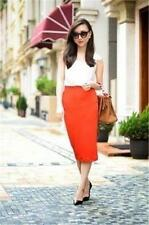 ZARA CORAL ORANGE RED HIGH WAIST PENCIL SKIRT SIZE M MEDIUM REF 2742/299
