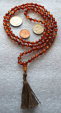 Jade Orange 6mm 108 Hand Knotted Fire Mala Prayer Beads Necklace Rosary