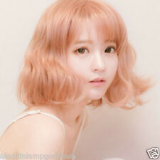 Mid Long Gold Blonde Wig Curly Wavy Hair Fashion Korean Women Cosplay Full Wig