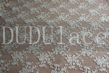 Beige Floral Lace Cotton Fabric Embroidered Fabric Tulle Wedding Dress S0198
