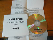 Glitter In Their Eyes Patti Smith CD-R promo + press release info CD ARISTA 2000