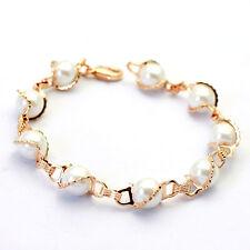 Luxus Perlen Armband Bracelet 18K pl. Rose Gold vergoldet Damen Geschenkidee!