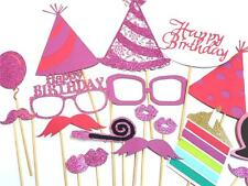 Photo Booth Props Parties Props Happy Birthday Hot Pink Set  x18PC