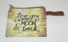 Love You To The Moon & Back Makeup Bag Zippered Pouch Leather Strap New Brown