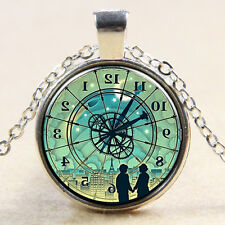 Compass watch Cabochon Glass silver necklace for women men Jewelry MS#160