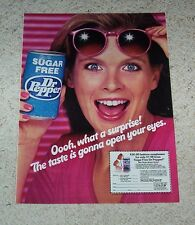 1982 ad page - sugar free Dr Pepper soda pop sunglasses CUTE girl Vintage ADVERT