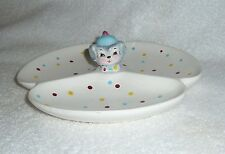 Vintage Lefton Puppy Pal Poodle Dog DIVIDED SERVING TRAY ESD Dish Blue Yellow