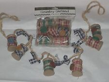 """34"""" Sewing Spool Country Garland sew craft buttons homespun primative Christmas"""