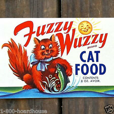 2 Vintage Original FUZZY WUZZY CAT FOOD Can Label 1950s NOS Unused Kitty Labels