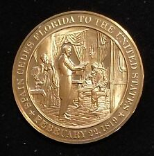 Franklin Mint Bronze Medal Proof 1819- Spain Cedes Florida to the United States