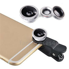 Silver Fisheye Wide Angle &Macro Photo Lens Clip Mobile Phone Camera Set Kit UK