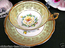 REGENCY TEA CUP AND SAUCER LIME GREEN BAND YELLOW FLOATING ROSE TEACUP