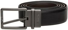$125 CALVIN KLEIN Men's BLACK BROWN FAUX LEATHER REVERSIBLE BUCKLE BELT SIZE 32