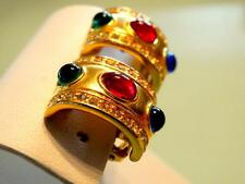 VTG 80S CHRISTIAN DIOR COUTURE RICH GOLD GRIPOIX EMERALD SAPPHIRE RUBY EARRINGS