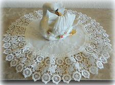 "15"" Doily Ivory Princess Lace European Dresser Table Scarf Topper"