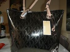 NWT MICHAEL KORS JET SET METALLIC MIRROR MK SIGNATURE TOTE NICKLE COLOR