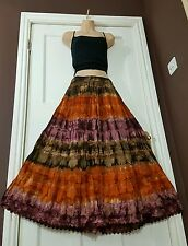 Ladies Cotton Tie&Dye Skirt Crochet&Lace Lined Brown/Org/Wine 5tier Ethnic 14-22