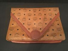 Vintage Authentic MCM Portfolio Clutch Briefcase Purse Hand Bag Cognac Leather
