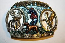 "HUNTING BELT BUCKLE -""AN AMERICAN TRADITION"" 1987 GREAT AMER. BUCKLE Made in USA"
