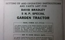 David Bradley Sears 917.575100 Garden Tractor & Plow Owners & Parts (2 Manuals)