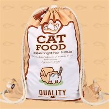 Neko Atsume Kitty Collector Japan Game Cute Cat Food Bag Drawstring Backpack New