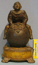 1890 AUTHENTIC OLD CLOWN ON GLOBE MECHANICAL CAST IRON BANK ORIGINAL * ON SALE *
