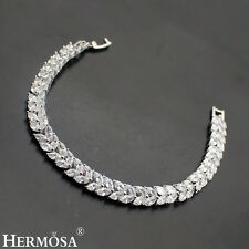 New Designer Hermosa® Leaf Shape 925 Sterling Silver White Topaz Bracelet 7""