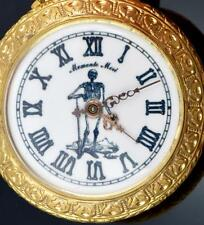 MUSEUM antique Gold plated chased case Memento Mori watch.SKELETON on the dial