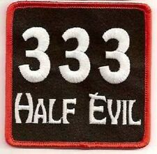 333 HALF EVIL EMBROIDERED IRON ON BIKER  PATCH