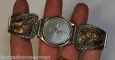 DM NATIVE AMERICAN STERLING SILVER 17MM WATCH BAND ENDS & CITIZEN WATCH FANCY