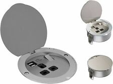 Knightsbridge 13A 1 Gang Recessed Round Socket with Dual USB Charger Port Slot