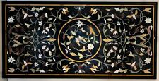 "48"" x 24"" Marble Center Black Table Top Handmade Inlay Work Home Decor"