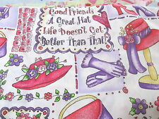 Dianna Marcum Marcus Brothers cotton fabric white collage red hat society BTHY