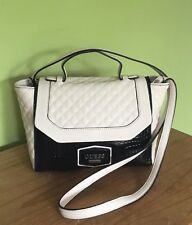 Guess Leena Cream White Quilted Crocodile Embossed Handbag Crossbody Bag