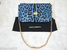 $950 AUTH DOLCE & GABBANA DENIM LEOPARD PRINTS FLAP CLUTCH GOLD CHAIN BAG LARGE