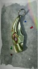 "Mini Pocket Knife 1"" Stainless Steel Abalone Handle Miniature, Tear Drop Design"