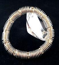 Splendido colore argento chiaro Cristallo Rhinestone Distanziatore Bracciale Elasticizzato