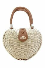 Banned Dancing Days Nikki Rockabilly 50s Handbag Rattan Purse Wicker Heart IVORY
