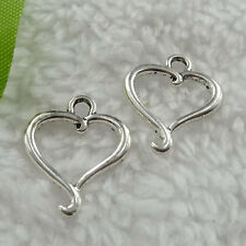 Free Ship 360 pieces tibet silver heart charms 21x17mm #141