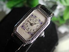Ladies Art Deco Enamel Abra Watch ~ New Black Leather Band